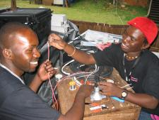 Yusuf and James wiring cables